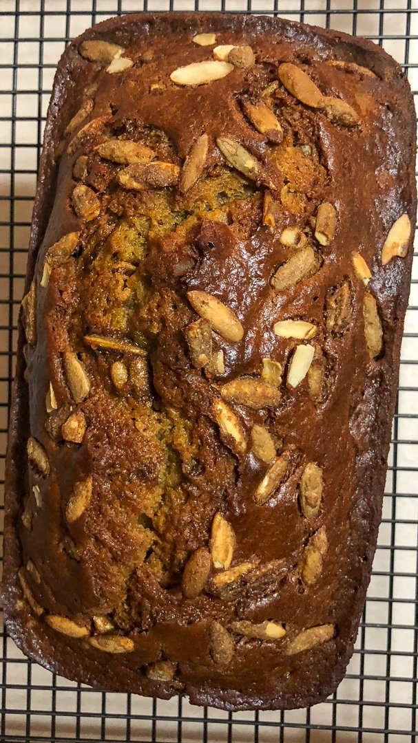 Pumpkin Seed And Apricot pumpkin Sweet Bread-on a metal rack