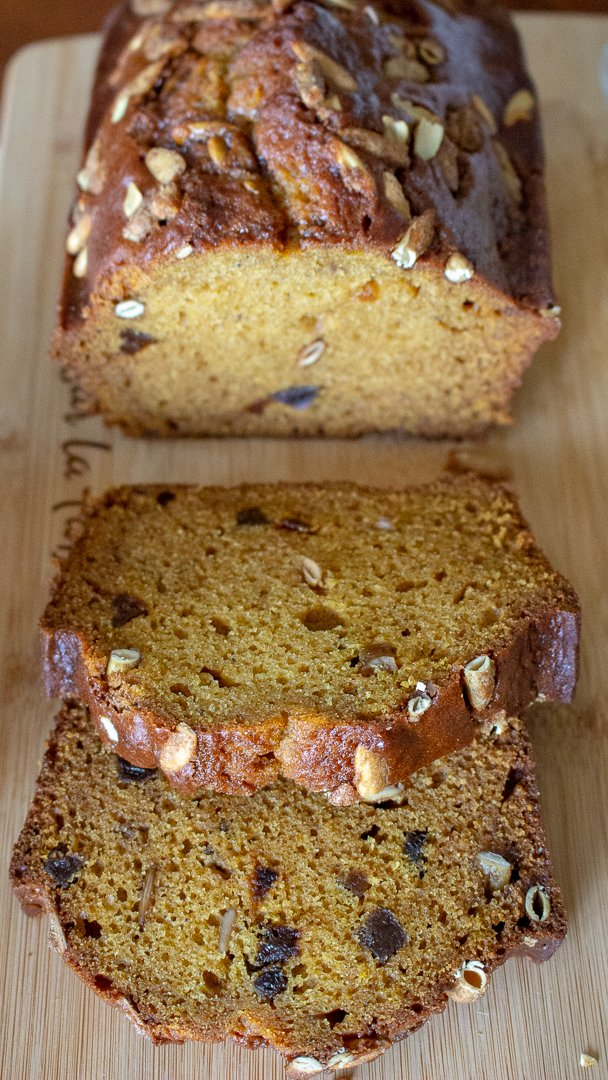 Pumpkin Seed And Apricot pumpkin Sweet Bread-slices, close up
