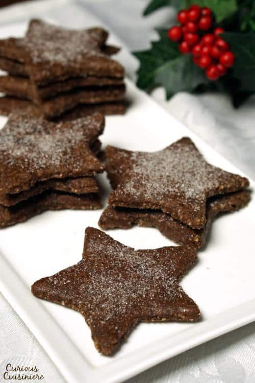These gluten free, Swiss chocolate almond flour cookies, known as Basler Brunsli, boast a rich chocolate flavor, a light nuttiness, and a fun, chewy texture!   www.CuriousCuisiniere.com