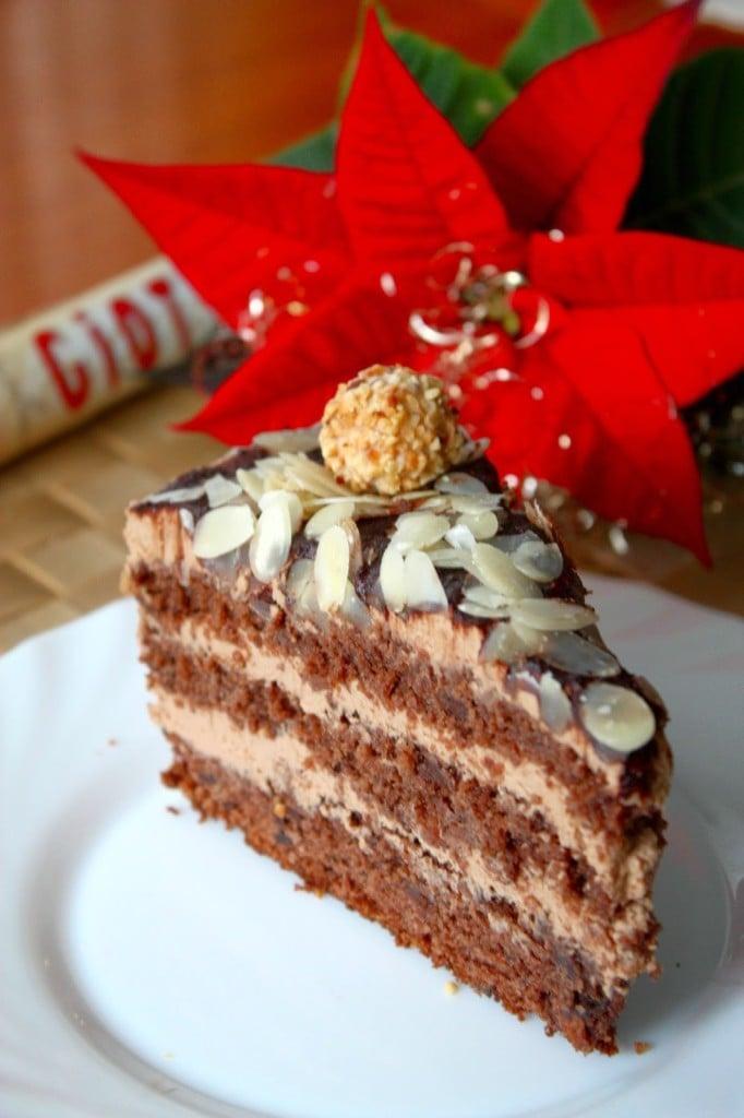 German Chocolate and Hazelnut Cake - a slice of cake on a white plate