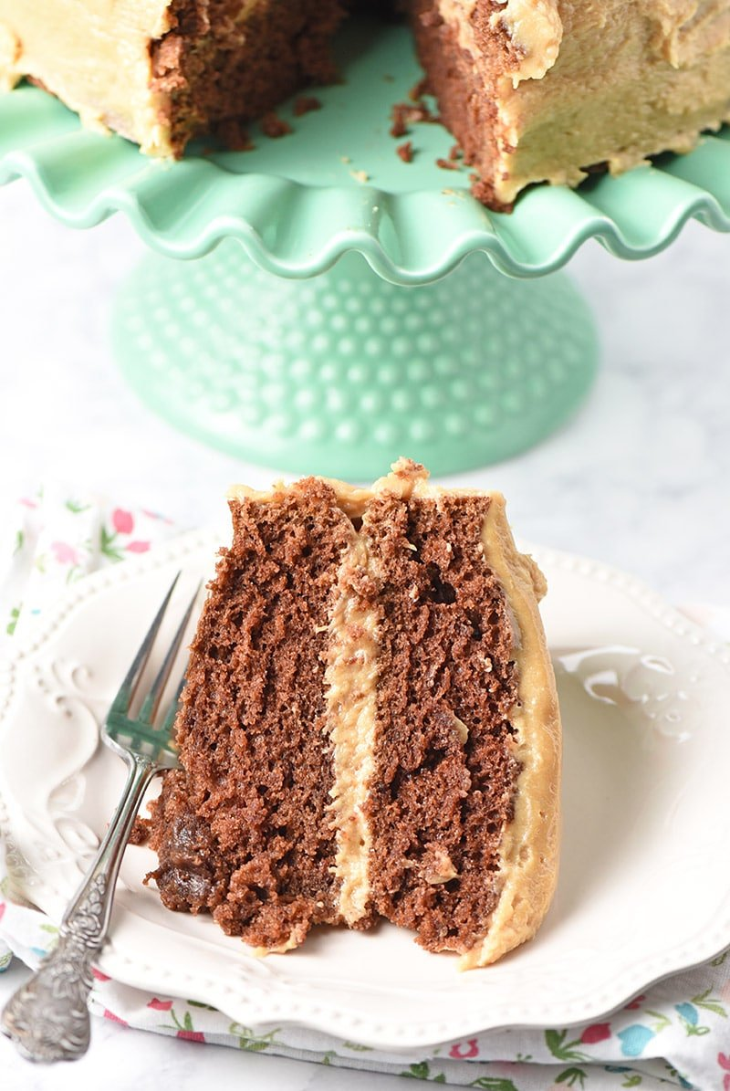 Slice of homemade chocolate cake with peanut butter cream cheese frosting on a white plate