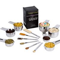 Measuring Cups And Spoons Set - 13 Piece Baking And Cooking Tool Pack, Stainless Steel, Engraved Measurement Markings, Narrow Spoons For Spice Jars | 1/8 Coffee Cup | Bonus Ebook