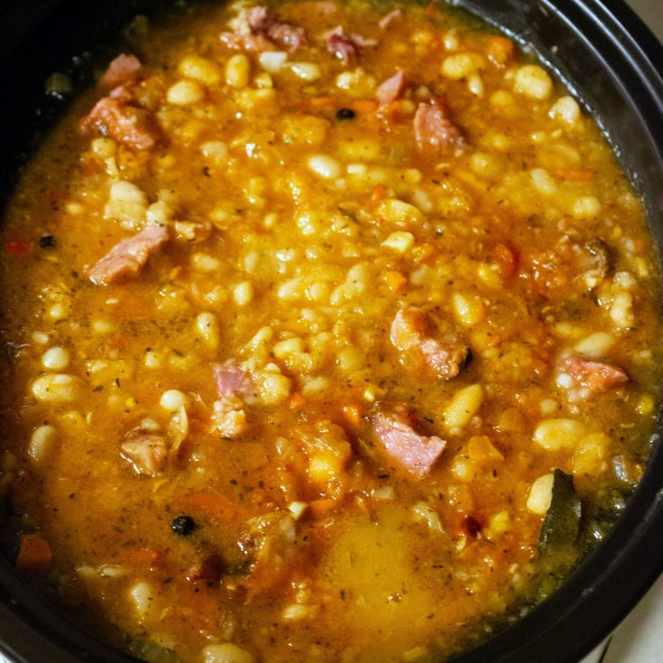 Beans With Pork Shank In The Crock Pot