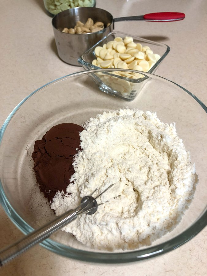mixing flour and cocoa together