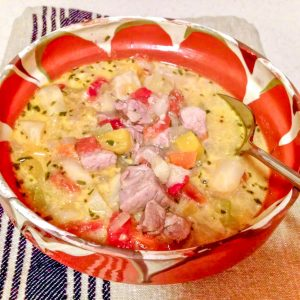 traditional Romanian sour soup with pork and vegetable11