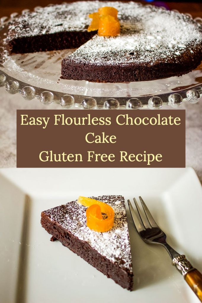 Easy Flourless Chocolate Cake- featured picture for Pinterest- cake on a platter next to a slice of cake on a white platter