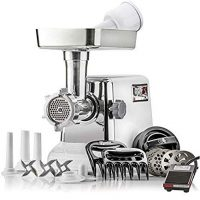 "STX International ""Platinum Edition"" Turboforce 3 Speed Heavy Duty 1200 Watt Electric Meat Grinder. Includes, 4 Grinding Plates, 3 Stainless Cutting Blades, Sausage Stuffer, Kubbe, 3 Lb.High Capacity Meat Tray, 2 Meat Claws, Burger Press & Foot Pedal"