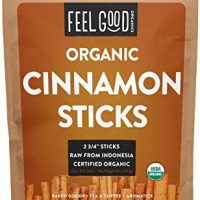 "Organic Korintje Cinnamon Sticks - Perfect for Baking, Cooking & Beverages - 100+ Sticks - 2 3/4"" Length - 100% Raw From Indonesia - by Feel Good Organics"