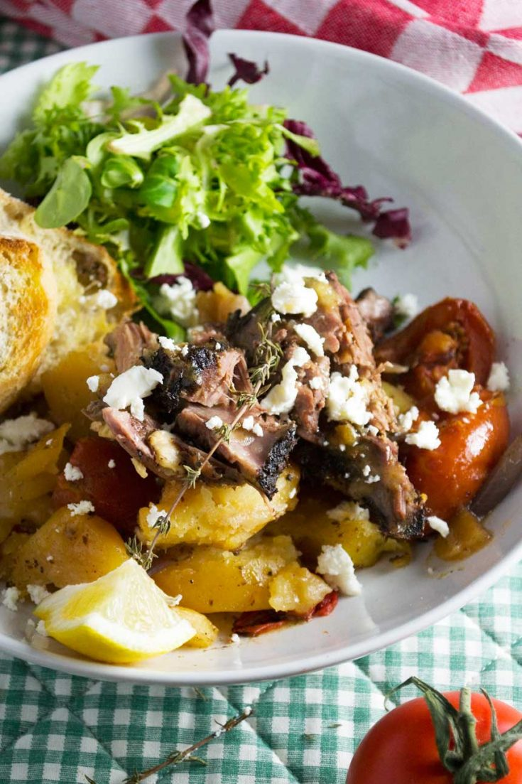 Greek lamb with lemony garlic potatoes (lamb kleftiko)