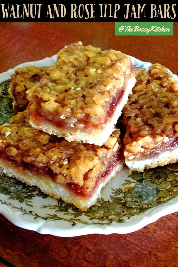 A delicious recipe of Walnut and Rose Hip Jam Bars from Transylvania. The rose hip is the star of the recipe but plum or lingonberry jam works too.#rosehipjambars #easybars