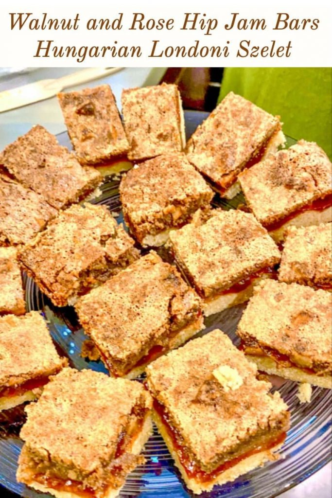 Walnut and Rose Hip Jam Bars Hungarian Londoni Szelet- featured picture for Pinterest
