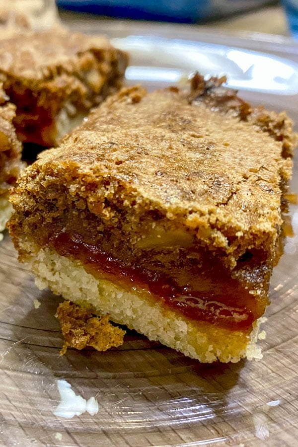 Walnut and Rose Hip Jam Bars- slice of the dessert - close up