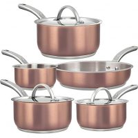 Oven-Safe Pots and Pans Set, Stainless Steel Cooking Pots, Dishwasher Safe, 8-Piece Rose Gold