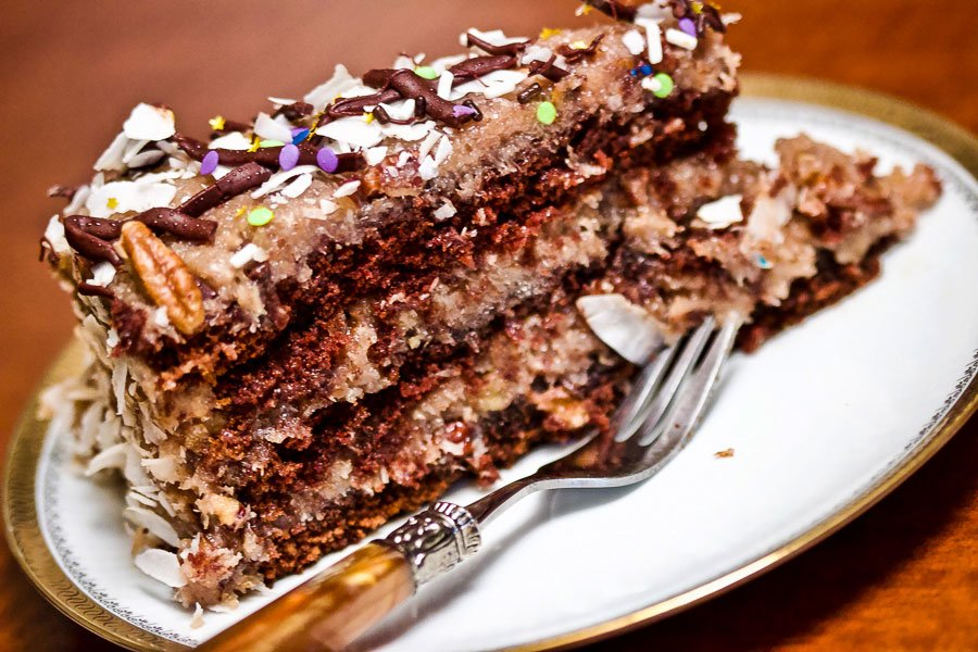 Best homemade German chocolate cake slice on a plate