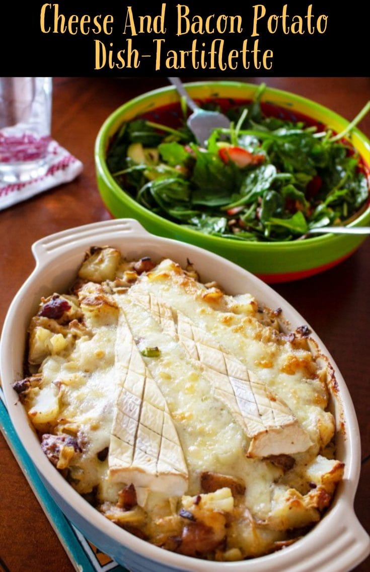 Cheese and bacon potato dish- an American version of the French Tartiflette- a delicious recipe that is perfect for a party. Comforting and hearty for the cold season. #tartiflette #potatoes #potatorecipe #easypotatorecipes #easydinner #easyrecipes