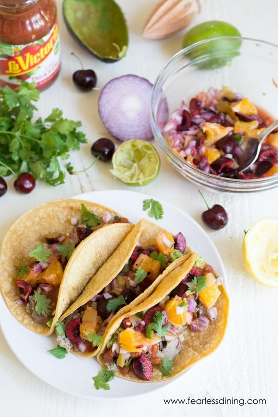 Duck Tacos with an Orange Cherry Fresh Salsa