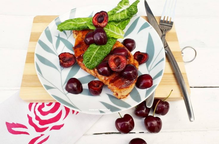 Glazed Chicken With Cherries And Baby Spinach