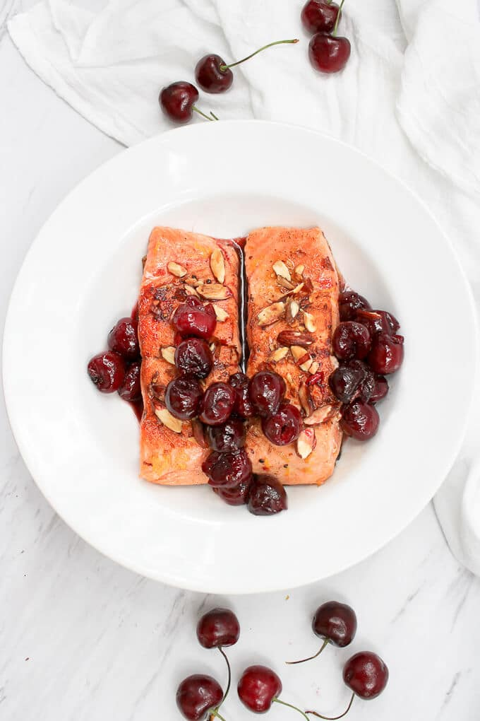 Cherry Almond Seared Salmon