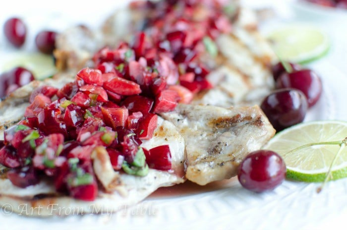 Grilled Pork Chops with Cherry Salsa