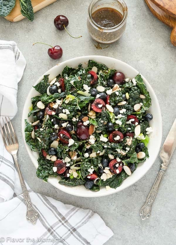 Summer Kale Salad with Blueberries, Cherries, and Goat Cheese
