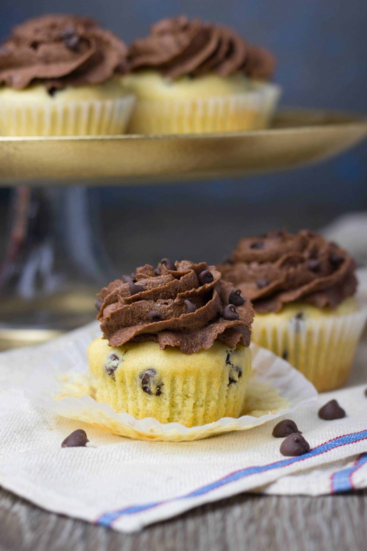 Vanilla Chocolate Chip Cupcakes with Chocolate Buttercream Frosting