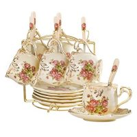 YOLIFE Red Rose Pattern Ivory Ceramic Cups and Saucers Set,Fancy Coffee Cups Set of 6 with Golden Metal Rack