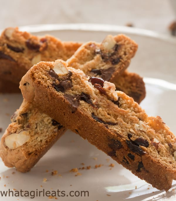 Cherry Almond Chocolate Chip Biscotti