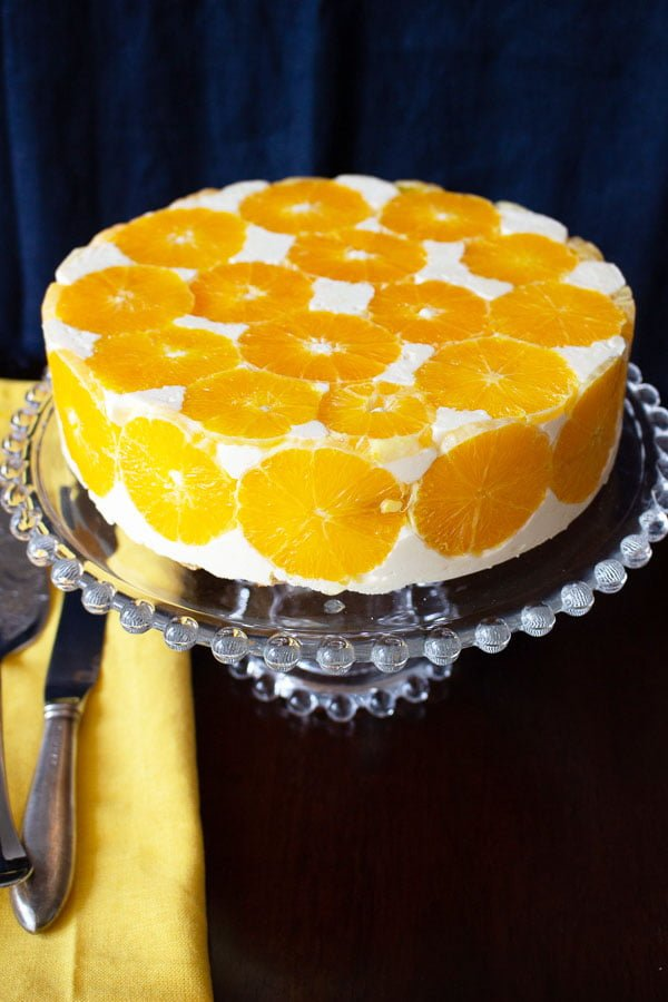 No Bake Orange Mousse Cake on a platter