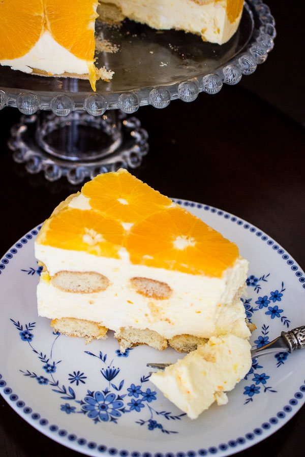 No Bake Orange Mousse Cake slice
