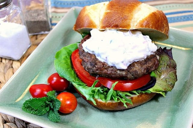 Juicy Greek Lamb Burgers with Feta Cheese & Tzatziki Sauce