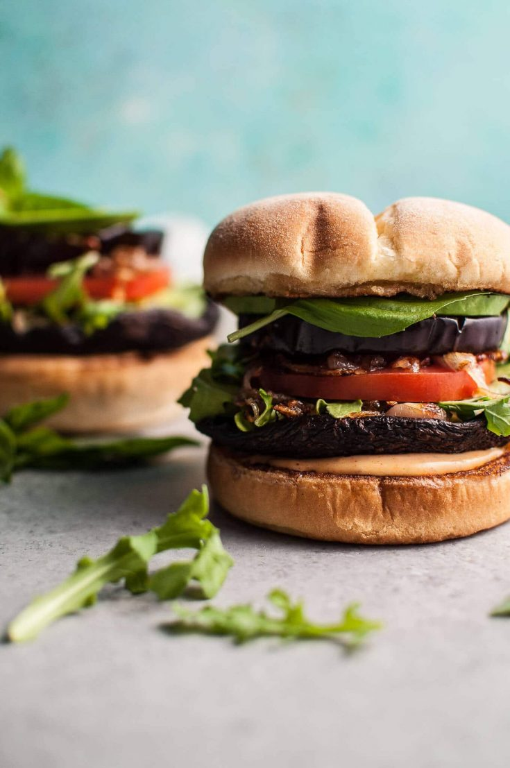 Grilled Portobello and Eggplant Veggie Burger