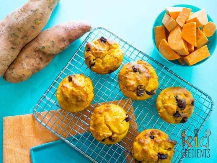Sweet potato choc chip muffins