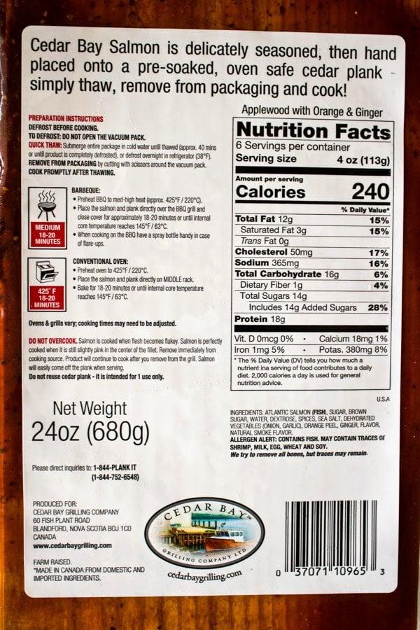 Cedar Planked Atlantic Salmon label