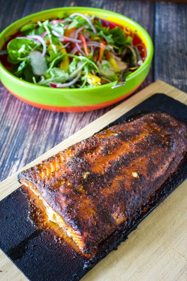 Cedar Bay Planked Salmon On Roasted Eggplant With Greens And Root Veggie Chips