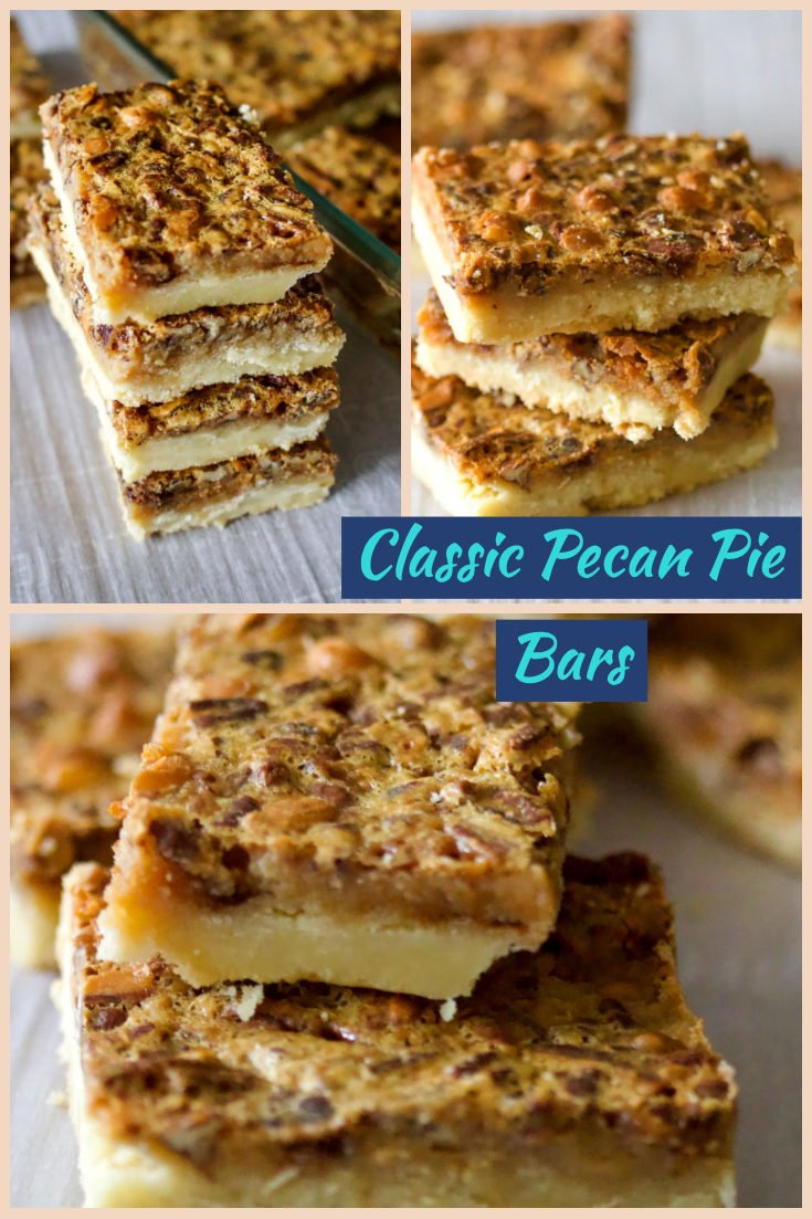 Classic Pecan Pie Bars are delicious bars that do not use corn syrup as a main ingredient. Easy to make and perfect for holidays, potlucks, parties or anything else in between. #pecanbars