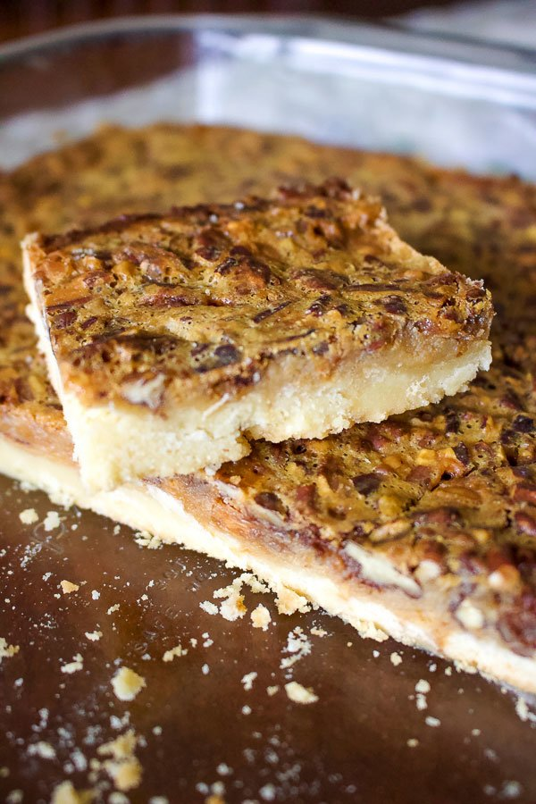 Classic Pecan Pie BarsNo Corn Syrup- close up