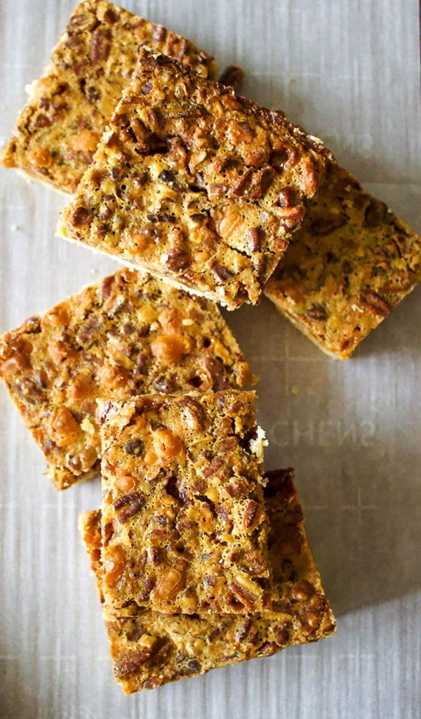Classic Pecan Pie Bars No Corn Syrup- overhead picture
