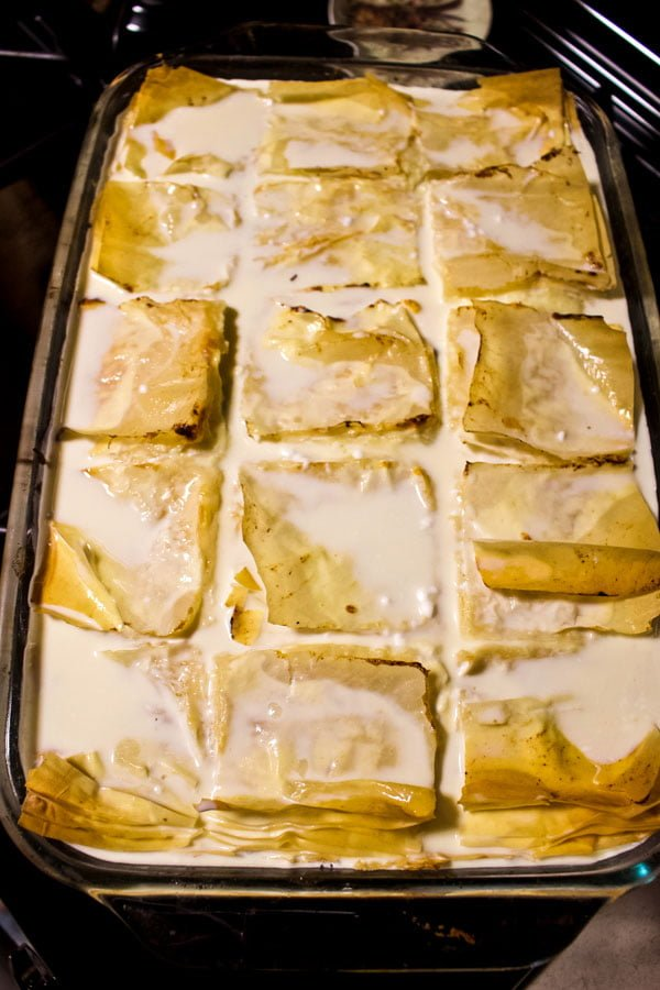 Sweet Cheese Slab Pie- milk, sour cream, egg and sugar mixture poured over the pie