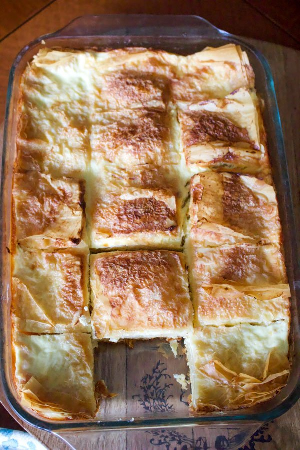 Sweet Cheese Slab Pie- in a glass baking pan