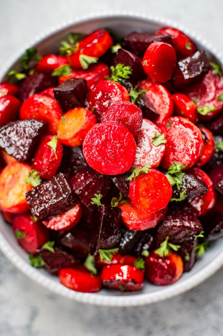 Maple Roasted Beets and Carrots