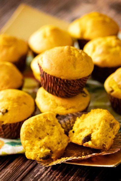 Pumpkin muffins on cloth napkin