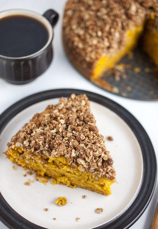 Pumpkin Coffee Cake with Oatmeal Streusel Topping