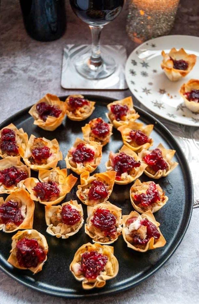 Turkey and Cranberry Filo Tarts