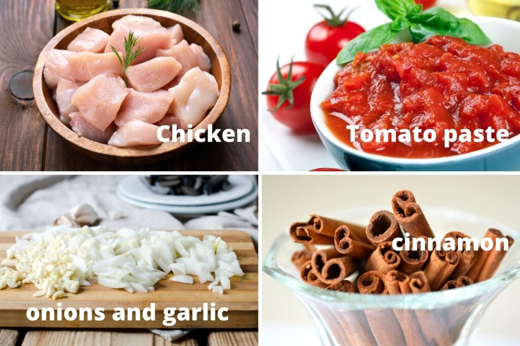 Ingredients for the chicken stew