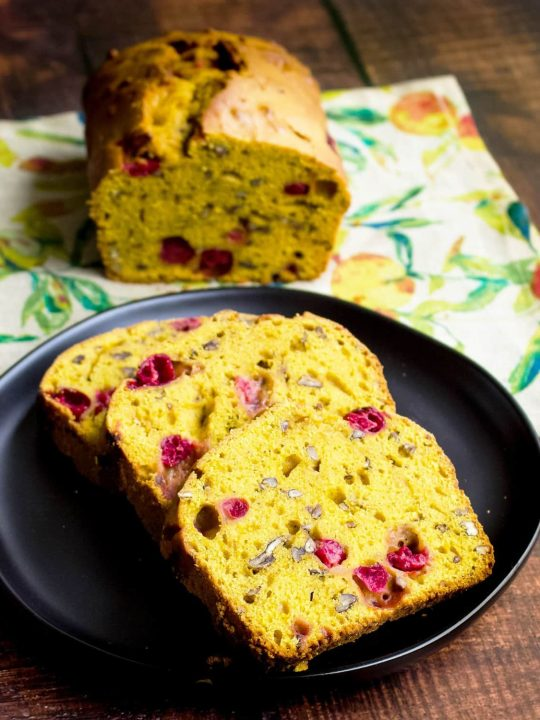 Pumpkin bread with fresh cranberries and pecans55