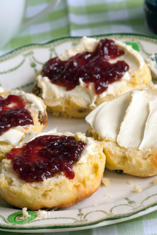 British style scones with jam and cream- close up