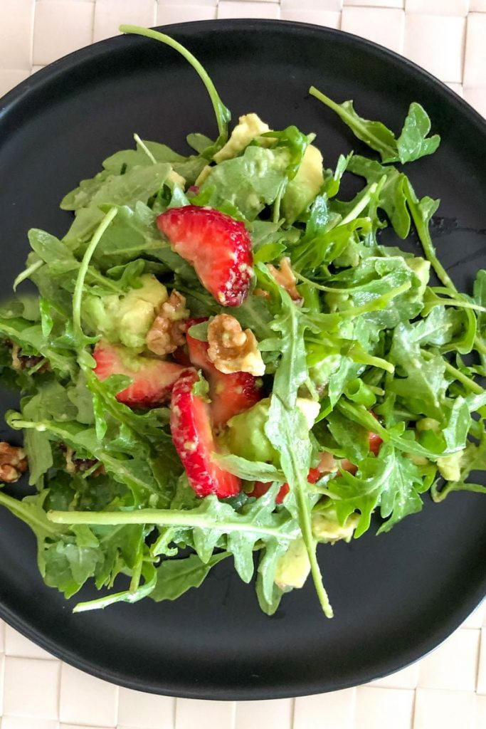 Strawberry Arugula Salad With Pecans And Avocado- close up