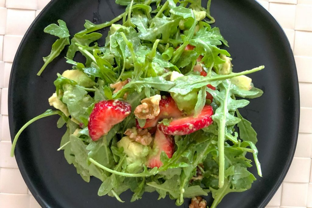 Strawberry Arugula Salad With Pecans And Avocado- horizontal picture