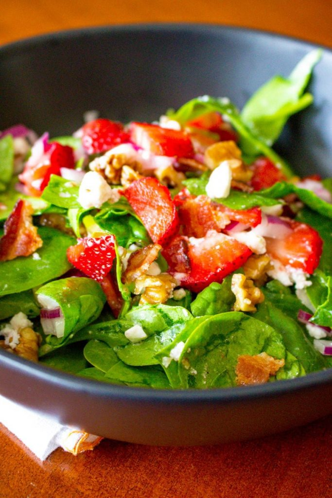 Spinach Strawberry Salad With Walnuts And Feta- featured picture
