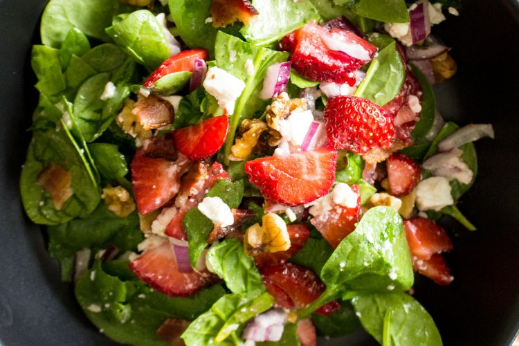 Spinach Strawberry Salad With Walnuts And Feta Cheese